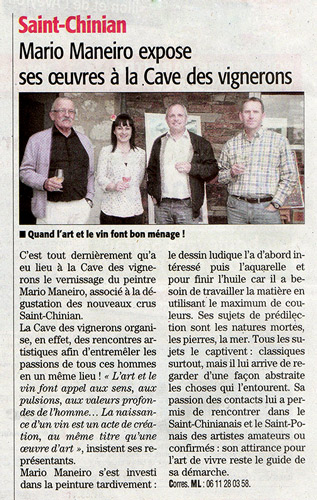 Article du Midi Libre sur le Vernissage au Caveau de Saint Chinian