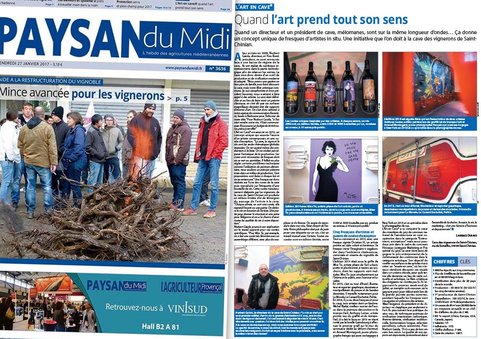 L'art en cave dans le Paysan du Midi du 27 Janvier 2017