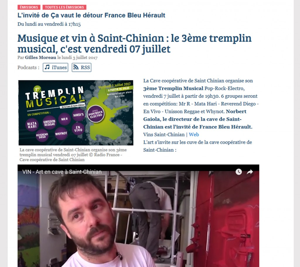 Parution sur le site de France Bleu